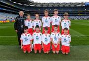 11 August 2019; The Tyrone team, back row, left to right, Aaron Waterhouse, Drimnagh Castle PS, Walkinstown, Dublin, Dominic Doherty, St Joseph's PS, Crumlin, Antrim, Jamie Dorr, Scoil Mhuire, Newtownforbes, Longford, Shane Mullarkey, Ballyroan Boys NS, Rathfarnham, Dublin, Conor Bodkin, St. Patricks PS, Tuam, Galway, front row, left to right, Colm McGuckian, Sacred Heart NS, Aughrim, Wicklow, Turlough Carr, St Francis, Barnesmore, Donegal Town, Donegal, Daniel Carr, St Patrick's, Mayobridge, Newry, Down, Peter Horan, Kilmovee NS, Ballaghaderreen, Mayo, Brian Hanly, St. Patrick's PS, Magheralin, Down, ahead of the INTO Cumann na mBunscol GAA Respect Exhibition Go Games during the GAA Football All-Ireland Senior Championship Semi-Final match between Kerry and Tyrone at Croke Park in Dublin. Photo by Piaras Ó Mídheach/Sportsfile