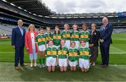 11 August 2019; INTO General Secretary John Boyle, LGFA President Marie Hickey, Cumann na mBunscol President Mairéad O'Callaghan, Uachtarán Chumann Lúthchleas Gael John Horan, with the Kerry team, back row, left to right, Aideen Reddy, Bunscoil Bhóthar na Naomh, Lismore, Waterford, Ciara Parker, St Columban's PS, Belcoo, Fermanagh, Philomena Gillman, Mullinahone NS, Mullinahone, Tipperary, Mischia Rooney, Ballapousta NS, Ardee, Louth, Emma Lynch, Gilson NS, Oldcastle, Meath, Alexandra Peter, Castlerara NS, Drumohan, Cavan, front row, left to right, Clara Casey, St Patrick's PS, Pennyburn, 22 Racecourse Road, Derry, Marie Cranny, Bennekerry NS, Bennekerry, Carlow, Kate Conefrey, Fenagh NS, Ballinamore, Leitrim, Isabel Beaddie, Scoil Neasáin, Baile Hearman, Áth Cliath, ahead of the INTO Cumann na mBunscol GAA Respect Exhibition Go Games during the GAA Football All-Ireland Senior Championship Semi-Final match between Kerry and Tyrone at Croke Park in Dublin. Photo by Piaras Ó Mídheach/Sportsfile