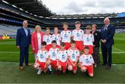 11 August 2019; INTO General Secretary John Boyle, LGFA President Marie Hickey, Cumann na mBunscol President Mairéad O'Callaghan, Uachtarán Chumann Lúthchleas Gael John Horan, with the Tyrone team, back row, left to right, Aaron Waterhouse, Drimnagh Castle PS, Walkinstown, Dublin, Dominic Doherty, St Joseph's PS, Crumlin, Antrim, Jamie Dorr, Scoil Mhuire, Newtownforbes, Longford, Shane Mullarkey, Ballyroan Boys NS, Rathfarnham, Dublin, Conor Bodkin, St. Patricks PS, Tuam, Galway, front row, left to right, Colm McGuckian, Sacred Heart NS, Aughrim, Wicklow, Turlough Carr, St Francis, Barnesmore, Donegal Town, Donegal, Daniel Carr, St Patrick's, Mayobridge, Newry, Down, Peter Horan, Kilmovee NS, Ballaghaderreen, Mayo, Brian Hanly, St. Patrick's PS, Magheralin, Down, ahead of the INTO Cumann na mBunscol GAA Respect Exhibition Go Games during the GAA Football All-Ireland Senior Championship Semi-Final match between Kerry and Tyrone at Croke Park in Dublin. Photo by Piaras Ó Mídheach/Sportsfile