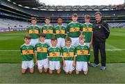 11 August 2019; The Kerry team, back row, left to right, Senan Buckley, Scoil Chros tSeáin, Crosshaven, Cork, Declan Osagie, Scoil Mhuire, Banríon, Edenderry, Offaly, Ruarc Sweeney, Clara NS Clara, Kilkenny, Jake Heffernan, Scoil Bhríde Dubh,Ath Duagh, Kerry, Kyle O'Reilly, Newtown NS. Crettyard, Laois, front row, left to right, James O'Malley, Lisnagry NS, Lisnagry, Limerick, Senan Buckley, Scoil Chros tSeáin, Crosshaven, Cork, Calum Duane, St. Conleth & Mary's PS, Piercetown, Newbridge, Kildare, Nathan Dunne, Scoil Bhride, Naas, Kildare, Ronan Keavey, St. Joseph's NS, Miltown Malbay, Clare, the INTO Cumann na mBunscol GAA Respect Exhibition Go Games during the GAA Football All-Ireland Senior Championship Semi-Final match between Kerry and Tyrone at Croke Park in Dublin. Photo by Piaras Ó Mídheach/Sportsfile