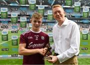 11 August 2019; Bill Boucher, Manager at Electric Ireland, presents Jonathan McGrath of Galway with the Player of the Match award for his major performance in the Electric Ireland GAA All-Ireland Minor Football Championship Semi-Final at Corke Park in Dublin. Throughout the Championships, fans can follow the conversation, vote for their player of the week, support the Minors and be a part of something major through the hashtag #GAAThisIsMajor. Photo by Ramsey Cardy/Sportsfile
