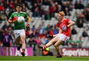 10 August 2019; Jack Cahalane of Cork in action against Ethan Henry of Mayo during the Electric Ireland GAA Football All-Ireland Minor Championship Semi-Final match between Cork and Mayo at Croke Park in Dublin. Photo by Sam Barnes/Sportsfile