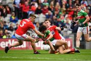 10 August 2019; Rory Morrin of Mayo in action against Daniel Linehan, left, and Neil Lordan of Cork during the Electric Ireland GAA Football All-Ireland Minor Championship Semi-Final match between Cork and Mayo at Croke Park in Dublin. Photo by Sam Barnes/Sportsfile