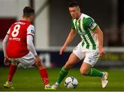 9 August 2019; Derek Daly of Bray Wanderers and Darragh Markey of St Patrick's Athletic during the Extra.ie FAI Cup First Round match between St. Patrick's Athletic and Bray Wanderers at Richmond Park in Dublin. Photo by Ben McShane/Sportsfile