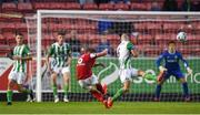 9 August 2019; Conor Clifford of St Patrick's Athletic has a shot on goal despite the attention of Paul Keegan of Bray Wanderers during the Extra.ie FAI Cup First Round match between St. Patrick's Athletic and Bray Wanderers at Richmond Park in Dublin. Photo by Ben McShane/Sportsfile