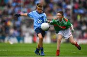 10 August 2019; Dáire Tracey, The Good Shepherd PS, Good Shepherd Road, Antrim, representing Dublin, in action against Sean Gallahue, Anglesboro NS, Anglesboro, Limerick, representing Mayo, during the INTO Cumann na mBunscol GAA Respect Exhibition Go Games during the GAA Football All-Ireland Senior Championship Semi-Final match between Dublin and Mayo at Croke Park in Dublin. Photo by Sam Barnes/Sportsfile