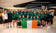 12 August 2019; Members of the Ireland basketball bronze medallist squad return from the FIBA U20 Women's European Championships Division B Finals, held in Kosovo, at Dublin Airport in Dublin. Photo by Stephen McCarthy/Sportsfile