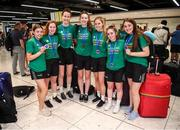 12 August 2019; Members of the Ireland basketball bronze medallist, from left, Enya Maguire, Sorcha Tiernan, Rachel Huijsdens, Amy Dooley, Alison Blaney, Annaliese Murphy and Maeve Phelan on their return from the FIBA U20 Women's European Championships Division B Finals, held in Kosovo, at Dublin Airport in Dublin. Photo by Stephen McCarthy/Sportsfile