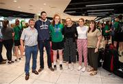 12 August 2019; Claire Melia of the Ireland basketball bronze medallist squad is greeted by family on her return from the FIBA U20 Women's European Championships Division B Finals, held in Kosovo, at Dublin Airport in Dublin. Photo by Stephen McCarthy/Sportsfile