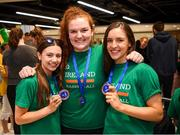 12 August 2019; Members of the Ireland basketball bronze medallist, from left, Enya Maguire, Maggie Byrne and Dayna Finn on their return from the FIBA U20 Women's European Championships Division B Finals, held in Kosovo, at Dublin Airport in Dublin. Photo by Stephen McCarthy/Sportsfile