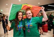 12 August 2019; Members of the Ireland basketball bronze medallist squad Dayna Finn, left, and Maggie Byrne, from Kiltimagh, Mayo, on their return from the FIBA U20 Women's European Championships Division B Finals, held in Kosovo, at Dublin Airport in Dublin. Photo by Stephen McCarthy/Sportsfile