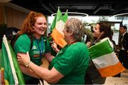12 August 2019; Maggie Byrne, from Kiltimagh, Mayo, of the Ireland basketball bronze medallist squad is greeted by Vera McKeon on her return from the FIBA U20 Women's European Championships Division B Finals, held in Kosovo, at Dublin Airport in Dublin. Photo by Stephen McCarthy/Sportsfile