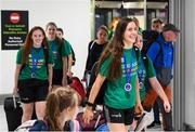 12 August 2019; Dayna Finn and fellow members of the Ireland basketball bronze medallist squad on their return from the FIBA U20 Women's European Championships Division B Finals, held in Kosovo, at Dublin Airport in Dublin. Photo by Stephen McCarthy/Sportsfile
