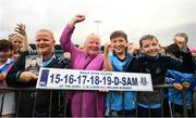 12 August 2019; Helena Kinsella from East Wall, Co Dublin, centre, with her 5 in a row license plate during a meet and greet at Parnell Park in Dublin. Photo by David Fitzgerald/Sportsfile