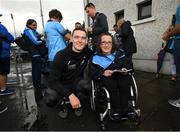 12 August 2019; Brian Fenton of Dublin poses for a picture with Nicole Doyle from Clondalkin, Co Dublin during a meet and greet at Parnell Park in Dublin. Photo by David Fitzgerald/Sportsfile