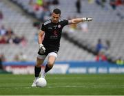 11 August 2019; Niall Morgan of Tyrone kicks a '45' during the GAA Football All-Ireland Senior Championship Semi-Final match between Kerry and Tyrone at Croke Park in Dublin. Photo by Ray McManus/Sportsfile