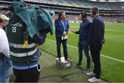 11 August 2019; RTÉ presenter Marty Morrissey with former Tyrone footballer Sean Cavanagh and former Kerry footballer Michael Quirke prior to the GAA Football All-Ireland Senior Championship Semi-Final match between Kerry and Tyrone at Croke Park in Dublin. Photo by Stephen McCarthy/Sportsfile