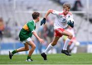11 August 2019; Jamie Dorr, Scoil Mhuire, Newtownforbes, Longford, representing Tyrone, and James O'Malley, Lisnagry NS, Lisnagry, Limerick, representing Kerry, during the INTO Cumann na mBunscol GAA Respect Exhibition Go Games at half-time of the GAA Football All-Ireland Senior Championship Semi-Final match between Kerry and Tyrone at Croke Park in Dublin. Photo by Stephen McCarthy/Sportsfile