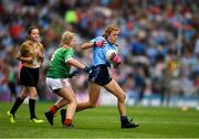 10 August 2019; Layla Stafford, Glynn NS Glynn, Wexford, representing Dublin, in action against Lilly Murray, Ballymurray NS, Ballymurray, Roscommon, representing Mayo, watched by referee Amy Dalton, St Mary's Parish PS, Drogheda, Louth, during the INTO Cumann na mBunscol GAA Respect Exhibition Go Games during the GAA Football All-Ireland Senior Championship Semi-Final match between Dublin and Mayo at Croke Park in Dublin. Photo by Ray McManus/Sportsfile