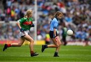 10 August 2019; Layla Stafford, Glynn NS Glynn, Wexford, representing Dublin, in action against Lilly Murray, Ballymurray NS, Ballymurray, Roscommon, representing Mayo, during the INTO Cumann na mBunscol GAA Respect Exhibition Go Games during the GAA Football All-Ireland Senior Championship Semi-Final match between Dublin and Mayo at Croke Park in Dublin. Photo by Ray McManus/Sportsfile