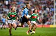 10 August 2019; Sophie English, Mount Anville PS, Stillorgan, Dublin, and Lilly Murray, Ballymurray NS, Ballymurray, Roscommon, representing Mayo, during the INTO Cumann na mBunscol GAA Respect Exhibition Go Games during the GAA Football All-Ireland Senior Championship Semi-Final match between Dublin and Mayo at Croke Park in Dublin. Photo by Ray McManus/Sportsfile