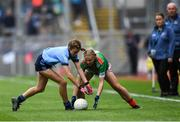 10 August 2019; Layla Stafford, Glynn NS Glynn, Wexford, representing Dublin, in action against Lilly Murray, Ballymurray NS, Ballymurray, Roscommon, representing Mayo, during the INTO Cumann na mBunscol GAA Respect Exhibition Go Games during the GAA Football All-Ireland Senior Championship Semi-Final match between Dublin and Mayo at Croke Park in Dublin. Photo by Piaras Ó Mídheach/Sportsfile