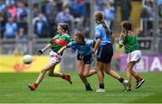 10 August 2019; Caoimhe Kelly, Mullaghrafferty, Carrickmacross, Monaghan, representing Mayo, in action against Layla Stafford, Glynn NS Glynn, Wexford, representing Dublin, during the INTO Cumann na mBunscol GAA Respect Exhibition Go Games during the GAA Football All-Ireland Senior Championship Semi-Final match between Dublin and Mayo at Croke Park in Dublin. Photo by Piaras Ó Mídheach/Sportsfile