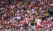 11 August 2019; David Moran of Kerry and Richie Donnelly of Tyrone during the GAA Football All-Ireland Senior Championship Semi-Final match between Kerry and Tyrone at Croke Park in Dublin. Photo by Stephen McCarthy/Sportsfile