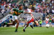 11 August 2019; Turlough Carr, St Francis, Barnesmore, Donegal Town, Donegal, representing Tyrone, and Declan Osagie, Scoil Mhuire, Banríon, Edenderry, Offaly, representing Kerry, during the INTO Cumann na mBunscol GAA Respect Exhibition Go Games at half-time of the GAA Football All-Ireland Senior Championship Semi-Final match between Kerry and Tyrone at Croke Park in Dublin. Photo by Stephen McCarthy/Sportsfile