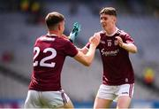 11 August 2019; Evan Nolan, right, and Conall Gallagher of Galway celebrate following the Electric Ireland GAA Football All-Ireland Minor Championship Semi-Final match between Kerry and Galway at Croke Park in Dublin. Photo by Stephen McCarthy/Sportsfile