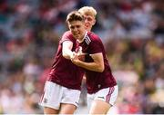 11 August 2019; James McLaughlin and James Webb, right, of Galway celebrate following the Electric Ireland GAA Football All-Ireland Minor Championship Semi-Final match between Kerry and Galway at Croke Park in Dublin. Photo by Stephen McCarthy/Sportsfile