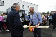 13 August 2019; Former Republic of Ireland player Stephen Hunt with Jim Bolger before the start of the eighth annual Hurling for Cancer Research, a celebrity hurling match in aid of the Irish Cancer Society in St Conleth's Park, Newbridge. The event, organised by legendary racehorse trainer Jim Bolger and National Hunt jockey Davy Russell, has raised €830,000 to date to fund the Irish Cancer Society's innovative cancer research projects. The final score was: Jim Bolger's Best: 15, Davy Russell's Stars 15. St Conleth's Park, Newbridge, Co Kildare. Photo by Matt Browne/Sportsfile