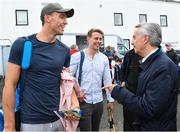 13 August 2019; Jim Bolger with Dublin hurlers Chris Crummy and Cian Boland before the start of the eighth annual Hurling for Cancer Research, a celebrity hurling match in aid of the Irish Cancer Society in St Conleth's Park, Newbridge. The event, organised by legendary racehorse trainer Jim Bolger and National Hunt jockey Davy Russell, has raised €830,000 to date to fund the Irish Cancer Society's innovative cancer research projects. The final score was: Jim Bolger's Best: 15, Davy Russell's Stars 15. St Conleth's Park, Newbridge, Co Kildare. Photo by Matt Browne/Sportsfile