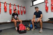 13 August 2019; Cork camogie player Ashling Thompson and Dublin hurler Chris Crummy in the team dressing room before eighth annual Hurling for Cancer Research, a celebrity hurling match in aid of the Irish Cancer Society in St Conleth's Park, Newbridge. The event, organised by legendary racehorse trainer Jim Bolger and National Hunt jockey Davy Russell, has raised €830,000 to date to fund the Irish Cancer Society's innovative cancer research projects. The final score was: Jim Bolger's Best: 15, Davy Russell's Stars 15. St Conleth's Park, Newbridge, Co Kildare. Photo by Matt Browne/Sportsfile