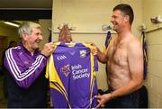 13 August 2019; Team manager and former Wexford All-Ireland winning team manager Liam Griffin presents former Republic of Ireland international Niall Quinn with his match jersey before the eighth annual Hurling for Cancer Research, a celebrity hurling match in aid of the Irish Cancer Society in St Conleth's Park, Newbridge. The event, organised by legendary racehorse trainer Jim Bolger and National Hunt jockey Davy Russell, has raised €830,000 to date to fund the Irish Cancer Society's innovative cancer research projects. The final score was: Jim Bolger's Best: 15, Davy Russell's Stars 15. St Conleth's Park, Newbridge, Co Kildare. Photo by Matt Browne/Sportsfile