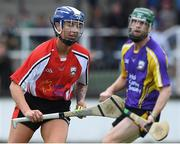 13 August 2019; Cork camogie player Ashling Thompson in action during the eighth annual Hurling for Cancer Research, a celebrity hurling match in aid of the Irish Cancer Society in St Conleth's Park, Newbridge. The event, organised by legendary racehorse trainer Jim Bolger and National Hunt jockey Davy Russell, has raised €830,000 to date to fund the Irish Cancer Society's innovative cancer research projects. The final score was: Jim Bolger's Best: 15, Davy Russell's Stars 15. St Conleth's Park, Newbridge, Co Kildare. Photo by Matt Browne/Sportsfile