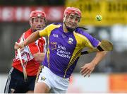 13 August 2019; Lee Chin of team Jim Bolger in action against Joe Lynch of team Davy Russell during the eighth annual Hurling for Cancer Research, a celebrity hurling match in aid of the Irish Cancer Society in St Conleth's Park, Newbridge. The event, organised by legendary racehorse trainer Jim Bolger and National Hunt jockey Davy Russell, has raised €830,000 to date to fund the Irish Cancer Society's innovative cancer research projects. The final score was: Jim Bolger's Best: 15, Davy Russell's Stars 15. St Conleth's Park, Newbridge, Co Kildare. Photo by Matt Browne/Sportsfile