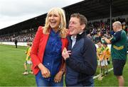 13 August 2019; Miriam O'Callaghan with Johnny Murtagh at the eighth annual Hurling for Cancer Research, a celebrity hurling match in aid of the Irish Cancer Society in St Conleth's Park, Newbridge. The event, organised by legendary racehorse trainer Jim Bolger and National Hunt jockey Davy Russell, has raised €830,000 to date to fund the Irish Cancer Society's innovative cancer research projects. The final score was: Jim Bolger's Best: 15, Davy Russell's Stars 15. St Conleth's Park, Newbridge, Co Kildare. Photo by Matt Browne/Sportsfile
