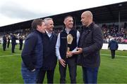 13 August 2019; Former Republic of Ireland player Paul McGrath, right, with, from left to right, Johnny Murtagh, Jim Bolger and Davy Russell at the eighth annual Hurling for Cancer Research, a celebrity hurling match in aid of the Irish Cancer Society in St Conleth's Park, Newbridge. The event, organised by legendary racehorse trainer Jim Bolger and National Hunt jockey Davy Russell, has raised €830,000 to date to fund the Irish Cancer Society's innovative cancer research projects. The final score was: Jim Bolger's Best: 15, Davy Russell's Stars 15. St Conleth's Park, Newbridge, Co Kildare. Photo by Matt Browne/Sportsfile