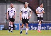 13 August 2019; Dundalk players, from left, Chris Shields, Seán Murray and Andy Boyle react after their side conceed their first goal during the UEFA Europa League 3rd Qualifying Round 2nd Leg match between Dundalk and SK Slovan Bratislava at Tallaght Stadium in Tallaght, Dublin. Photo by Stephen McCarthy/Sportsfile