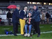 13 August 2019; Averil Power CEO of the Irish Cancer Society and former jockey Freddy Tylicki present the trophy to team managers Jim Bolger and Liam Griffin after the eighth annual Hurling for Cancer Research, a celebrity hurling match in aid of the Irish Cancer Society in St Conleth's Park, Newbridge. The event, organised by legendary racehorse trainer Jim Bolger and National Hunt jockey Davy Russell, has raised €830,000 to date to fund the Irish Cancer Society's innovative cancer research projects. The final score was: Jim Bolger's Best: 15, Davy Russell's Stars 15. St Conleth's Park, Newbridge, Co Kildare. Photo by Matt Browne/Sportsfile