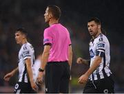 13 August 2019; Patrick Hoban of Dundalk contests a decision with referee Robert Schörgenhofer during the UEFA Europa League 3rd Qualifying Round 2nd Leg match between Dundalk and SK Slovan Bratislava at Tallaght Stadium in Tallaght, Dublin. Photo by Eóin Noonan/Sportsfile