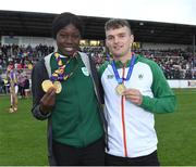 13 August 2019; Team Ireland's Rhasidat Adeleke and Marcus Lawler during the eighth annual Hurling for Cancer Research, a celebrity hurling match in aid of the Irish Cancer Society in St Conleth's Park, Newbridge. The event, organised by legendary racehorse trainer Jim Bolger and National Hunt jockey Davy Russell, has raised €830,000 to date to fund the Irish Cancer Society's innovative cancer research projects. The final score was: Jim Bolger's Best: 15, Davy Russell's Stars 15. St Conleth's Park, Newbridge, Co Kildare. Photo by Matt Browne/Sportsfile