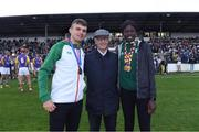 13 August 2019; Jim Bolger with Team Ireland's Marcus Lawler and Rhasidat Adeleke during the eighth annual Hurling for Cancer Research, a celebrity hurling match in aid of the Irish Cancer Society in St Conleth's Park, Newbridge. The event, organised by legendary racehorse trainer Jim Bolger and National Hunt jockey Davy Russell, has raised €830,000 to date to fund the Irish Cancer Society's innovative cancer research projects. The final score was: Jim Bolger's Best: 15, Davy Russell's Stars 15. St Conleth's Park, Newbridge, Co Kildare. Photo by Matt Browne/Sportsfile