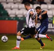 13 August 2019; Erik Daniel of Slovan Bratislava shoots to score his side's third goal during the UEFA Europa League 3rd Qualifying Round 2nd Leg match between Dundalk and SK Slovan Bratislava at Tallaght Stadium in Tallaght, Dublin. Photo by Stephen McCarthy/Sportsfile
