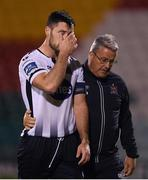 13 August 2019; Patrick Hoban of Dundalk is consoled by first team coach John Gill after the UEFA Europa League 3rd Qualifying Round 2nd Leg match between Dundalk and SK Slovan Bratislava at Tallaght Stadium in Tallaght, Dublin. Photo by Eóin Noonan/Sportsfile