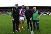 13 August 2019; Lee Chin of team Jim Bolger with official match starter Tony McCoy and referees Jimmy Barry-Murphy and Cyril Farrell before the eighth annual Hurling for Cancer Research, a celebrity hurling match in aid of the Irish Cancer Society in St Conleth's Park, Newbridge. The event, organised by legendary racehorse trainer Jim Bolger and National Hunt jockey Davy Russell, has raised €830,000 to date to fund the Irish Cancer Society's innovative cancer research projects. The final score was: Jim Bolger's Best: 15, Davy Russell's Stars 15. St Conleth's Park, Newbridge, Co Kildare. Photo by Matt Browne/Sportsfile