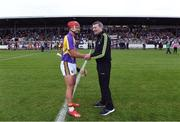 13 August 2019; Lee Chin of team Jim Bolger with match referee Jimmy Barry-Murphy before the eighth annual Hurling for Cancer Research, a celebrity hurling match in aid of the Irish Cancer Society in St Conleth's Park, Newbridge. The event, organised by legendary racehorse trainer Jim Bolger and National Hunt jockey Davy Russell, has raised €830,000 to date to fund the Irish Cancer Society's innovative cancer research projects. The final score was: Jim Bolger's Best: 15, Davy Russell's Stars 15. St Conleth's Park, Newbridge, Co Kildare. Photo by Matt Browne/Sportsfile