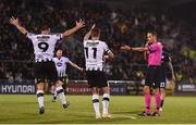 13 August 2019; Dundalk players Patrick Hoban, left, and Patrick McEleney appeal for a handball to referee Robert Schörgenhofer during the UEFA Europa League 3rd Qualifying Round 2nd Leg match between Dundalk and SK Slovan Bratislava at Tallaght Stadium in Tallaght, Dublin. Photo by Eóin Noonan/Sportsfile