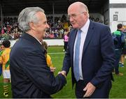 13 August 2019; Jim Bolger with Uachtarán Chumann Lúthchleas Gael John Horan before the eighth annual Hurling for Cancer Research, a celebrity hurling match in aid of the Irish Cancer Society in St Conleth's Park, Newbridge. The event, organised by legendary racehorse trainer Jim Bolger and National Hunt jockey Davy Russell, has raised €830,000 to date to fund the Irish Cancer Society's innovative cancer research projects. The final score was: Jim Bolger's Best: 15, Davy Russell's Stars 15. St Conleth's Park, Newbridge, Co Kildare. Photo by Matt Browne/Sportsfile